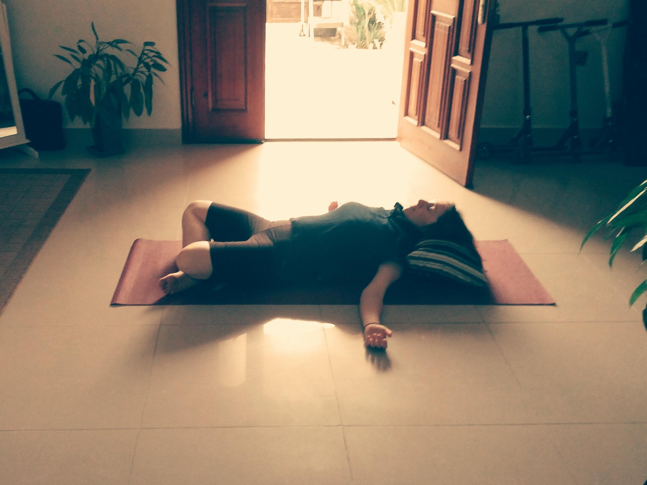 Supta Swastikasana - reclining cross legged pose